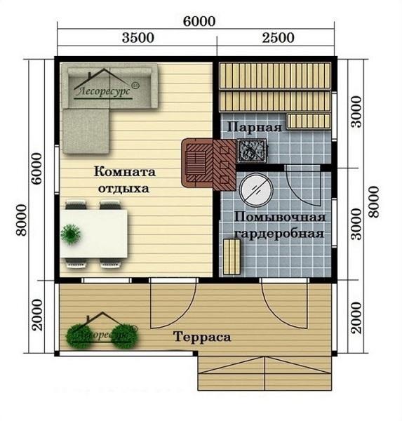 планировка дома 6 на 8