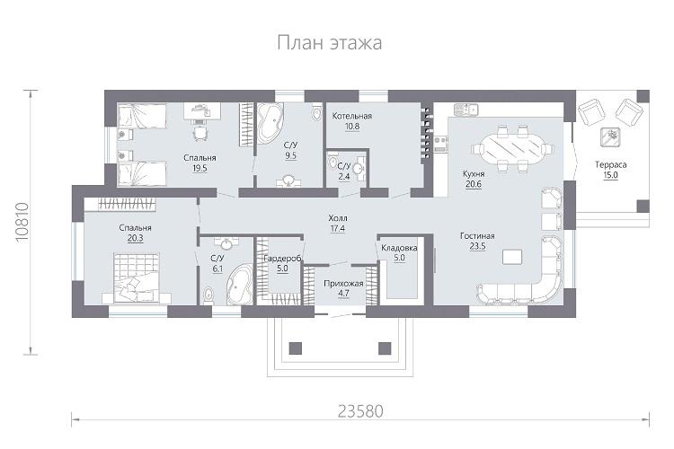 планировка шале одноэтажный