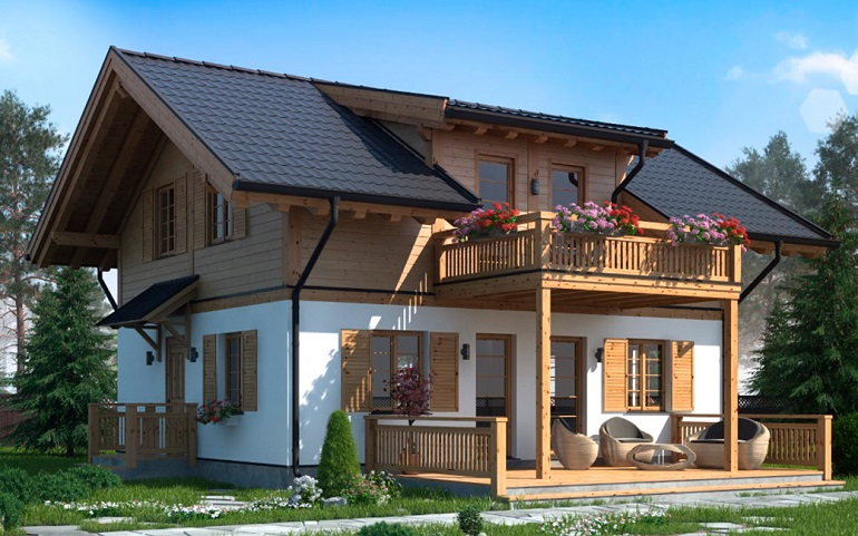 проект красивого дома в стиле шале