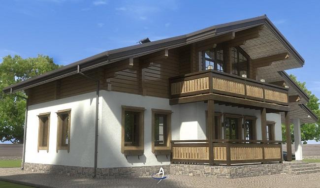 комбинированный дом шале из бруса и камня