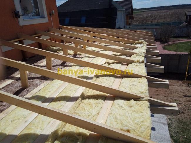 утепление крыши веранды минватой