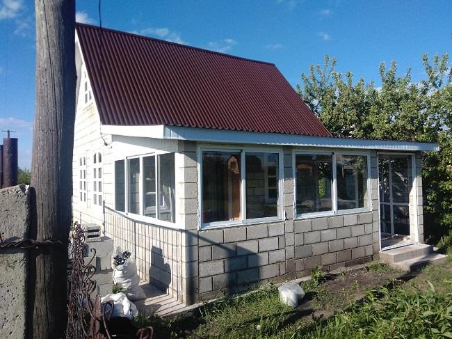 веранда из строительных блоков пристроенная к дому