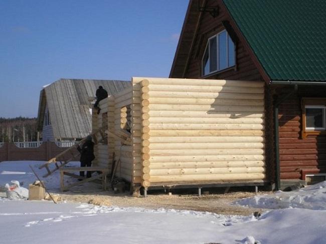 бревенчатая веранда к деревянному дому