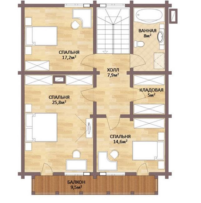 план мансардного этажа шале