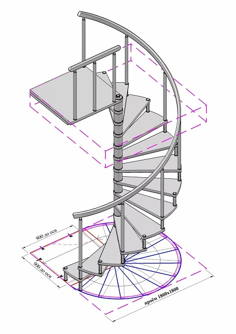винтовая лестница чертеж с размерами