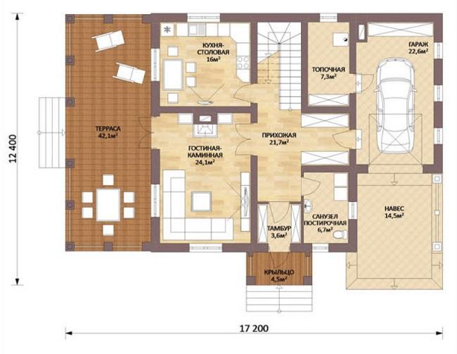 план первого этажа Шале