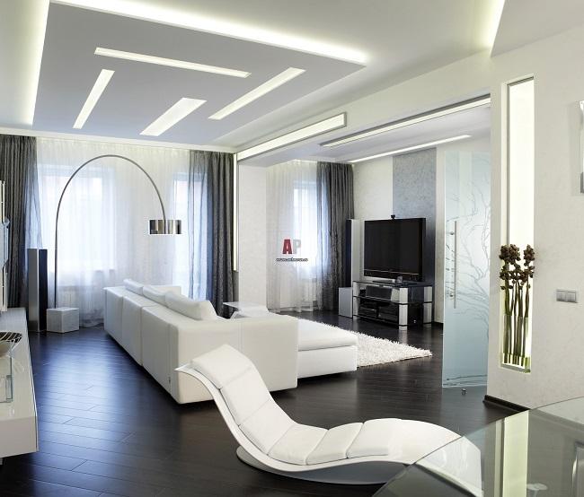 хай тек интерьер зала с диваном