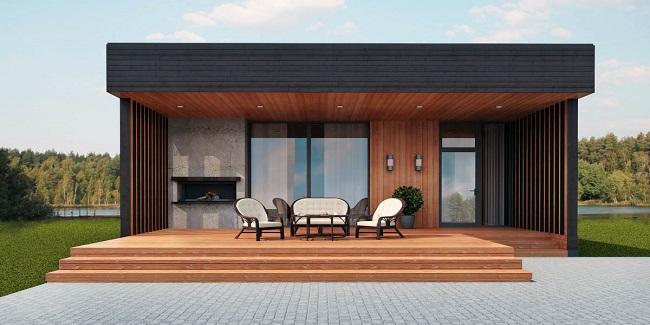 одноэтажный дом в стиле хай тек