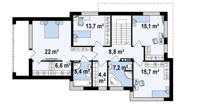 планировка дома хай тек 2 этаж