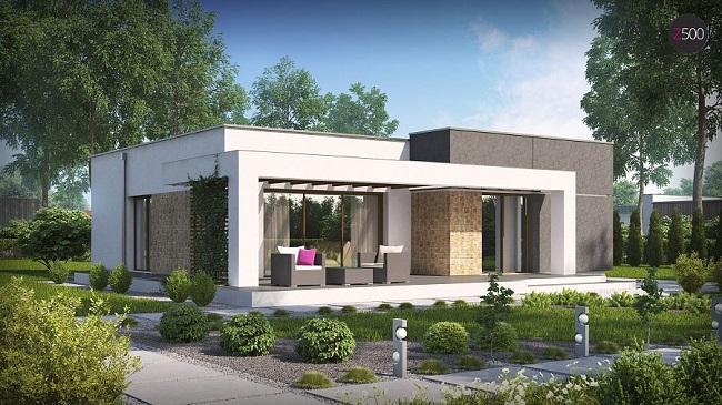 проект одноэтажного дома в стиле хай тек