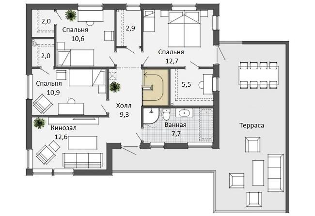 планировка дома хай тек второй этаж