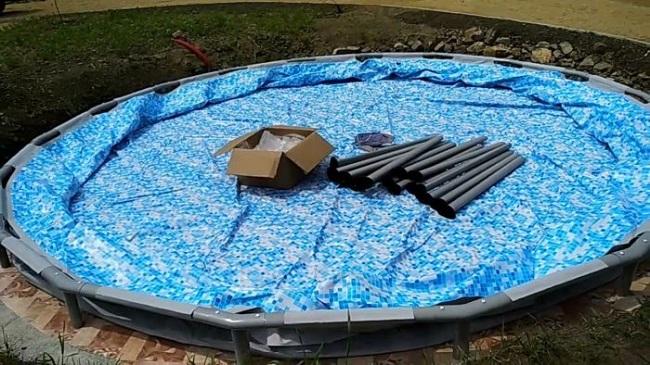 разобранный каркасный бассейн