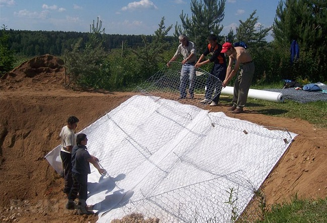 укрепление откосов матрацами рено с геотекстилем