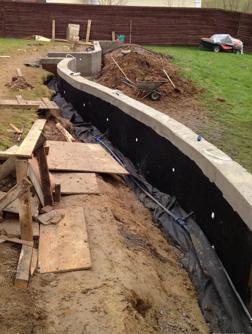 обработка фундамента подпорной стенки гидроизоляцией