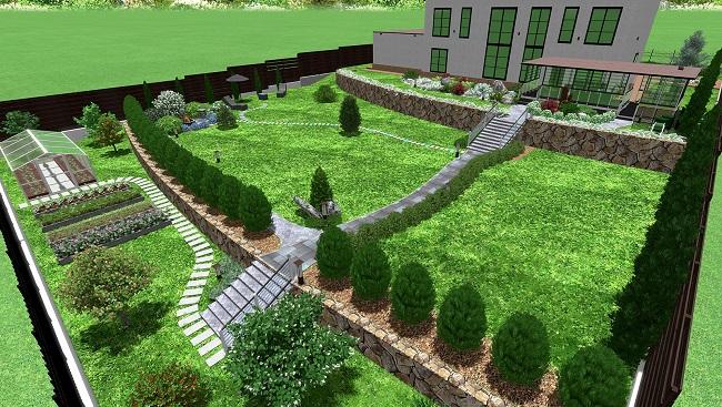 ландшафтный дизайн участка на склоне