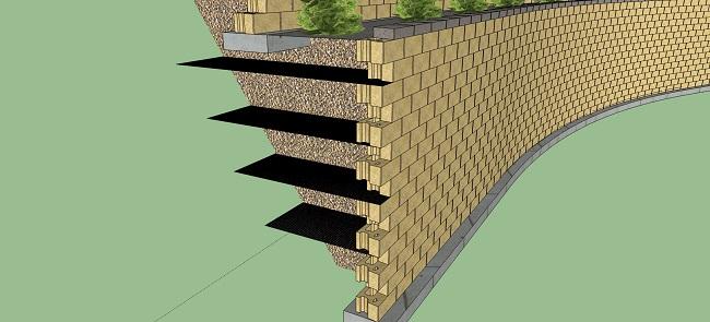 армирование грунта для подпорной стенки