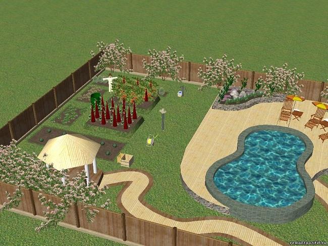 план участка 6 соток барбекю и бассейном