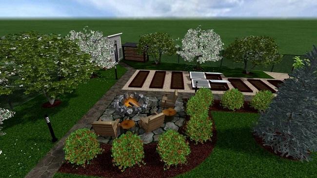 расположение сада и огородо на 6 сотках