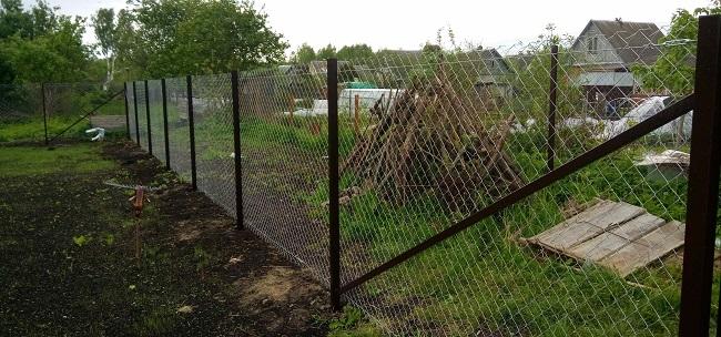 забор из сетки рабицы на дачу