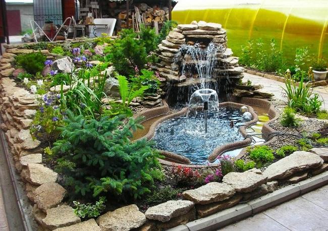 фонтан с альпийской горкой своими руками