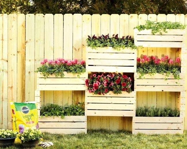 оформление забора ящиками с цветами