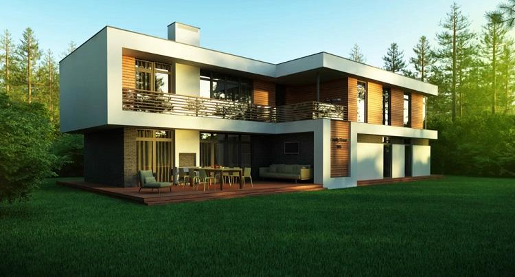 проект дома с плоской крышей в стиле модерн