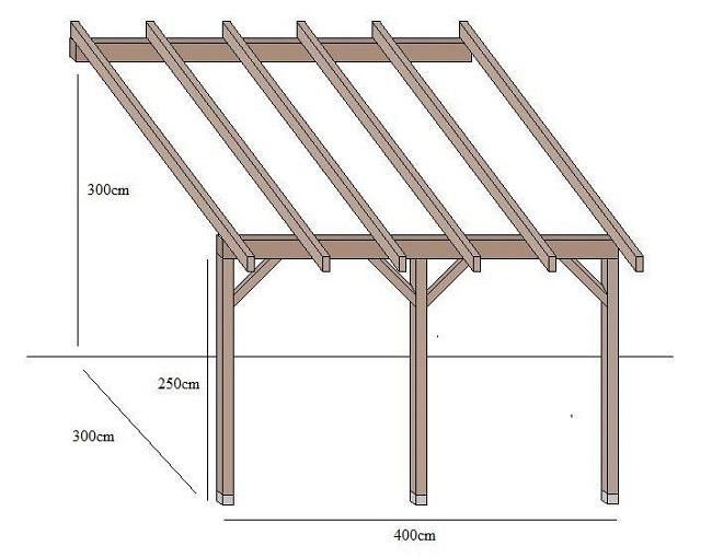 схема навес односкатного деревянного