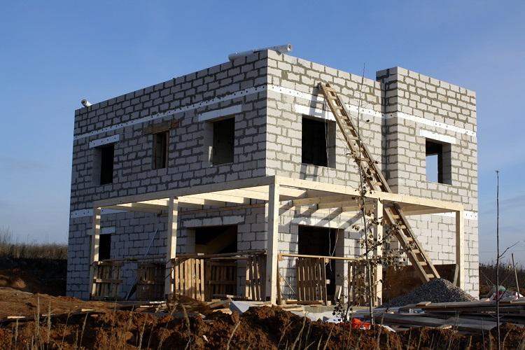 газобетонный дом с плоской крышей ход стройки