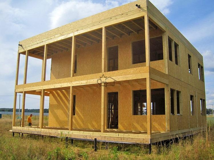 двухэтажный дом из сип панелей с плоской крышей