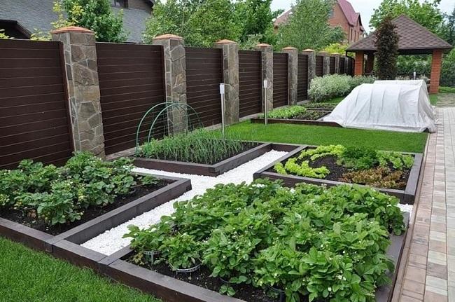модульный огород вдоль забора