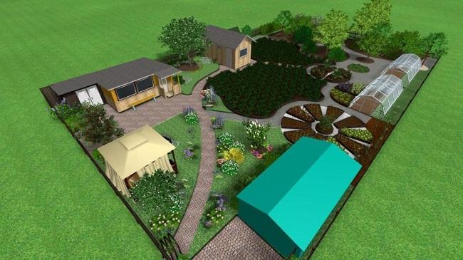 сад и огород на участке 8 соток расположение