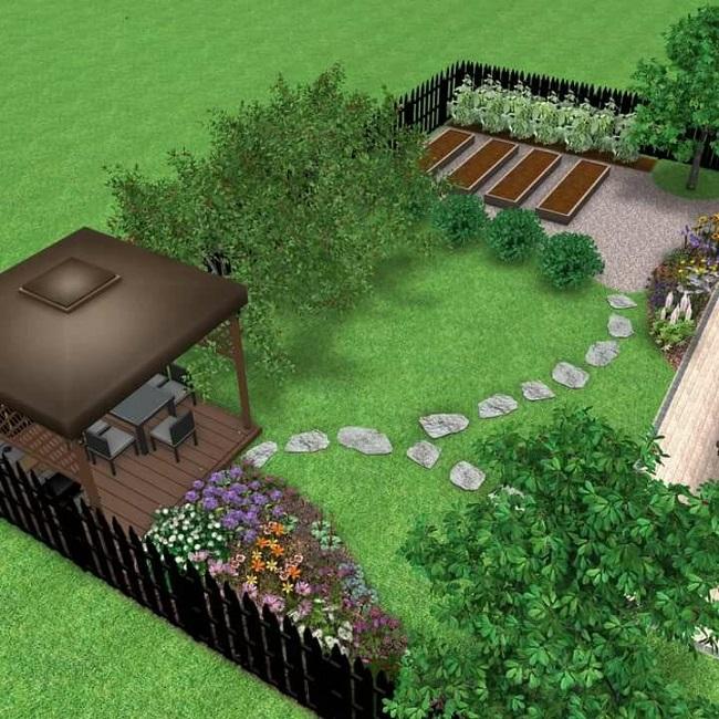 озеленение и благоустройство участка 8 соток