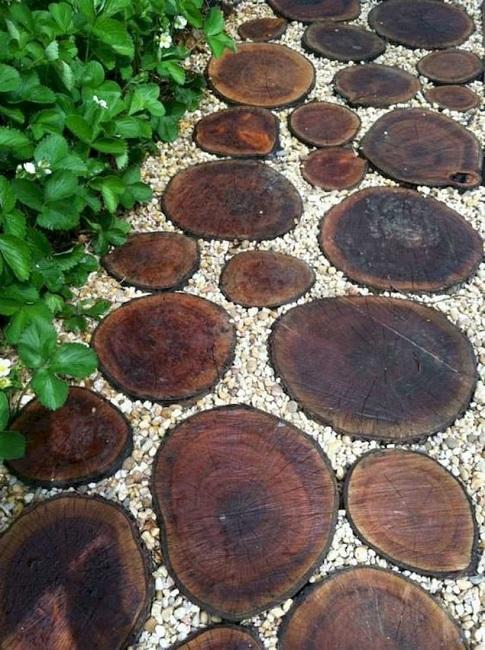 дорожки из спилов деревьев