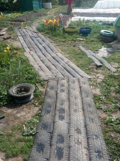 садовые дорожки из шин