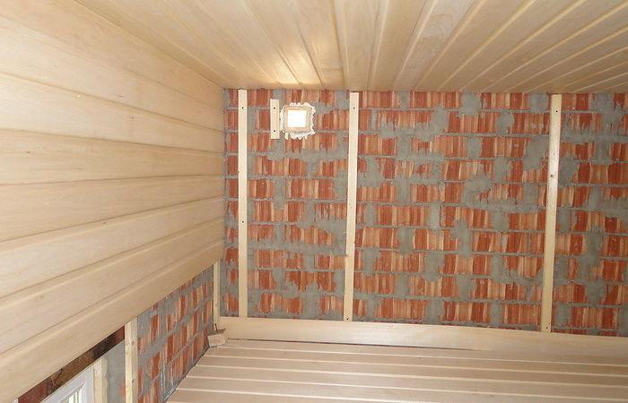 отделка кирпичной бани внутри вагонкой