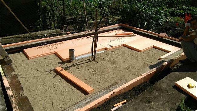 плитный фундамент бани