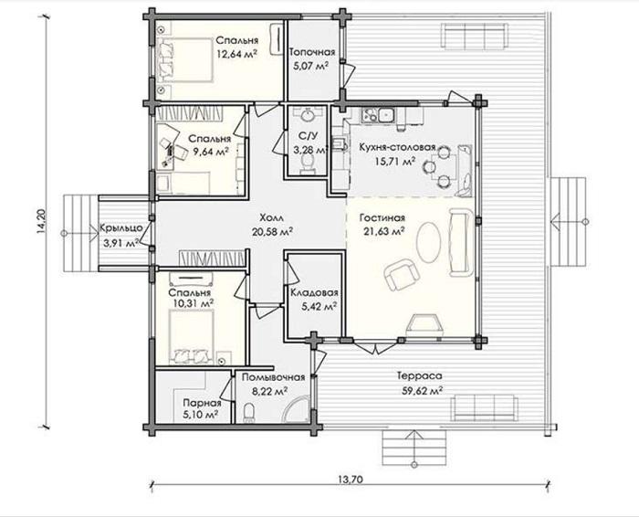 планировка дома 181 м2