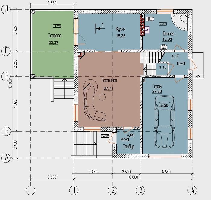 дом с гаражом на 4 сотках проект