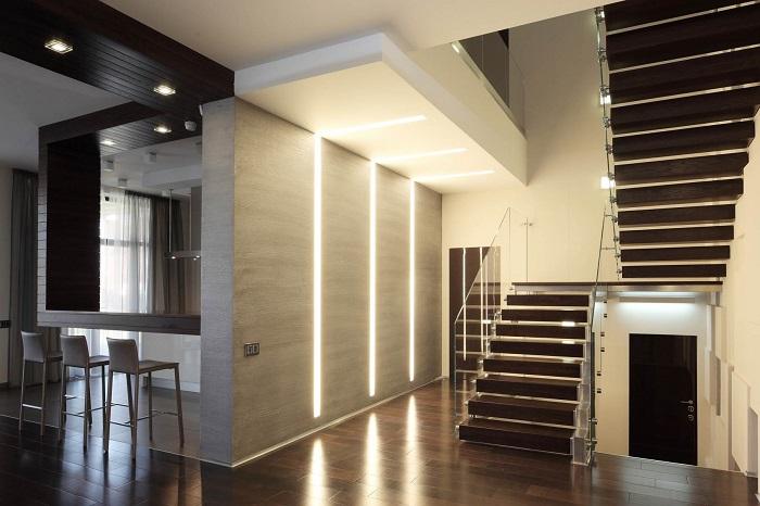 декоративная подсветка интерьера частного дома