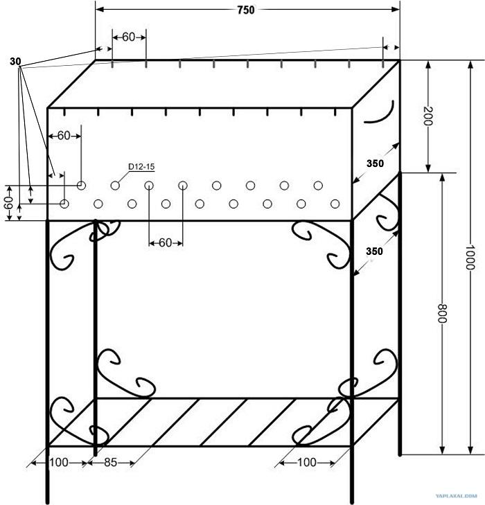 чертеж стандартного мангала из металла