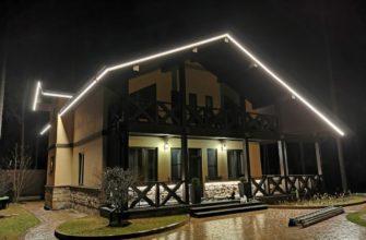 фасадная подсветка частного дома