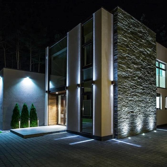 архитектурное освещение фасада частного дома