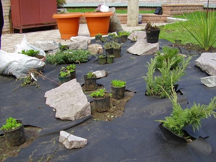 посадка растений с геотекстилем