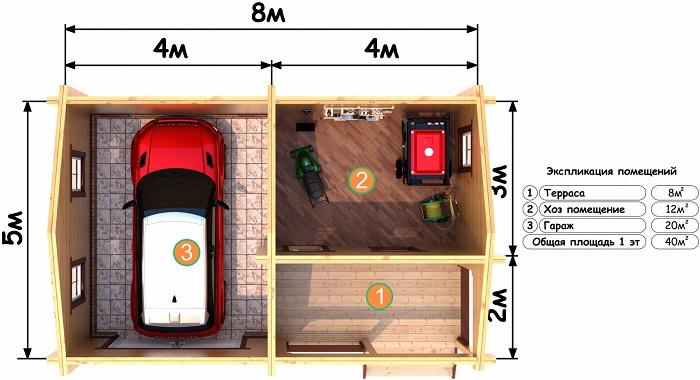 проект гаража из бруса с хозпомещением