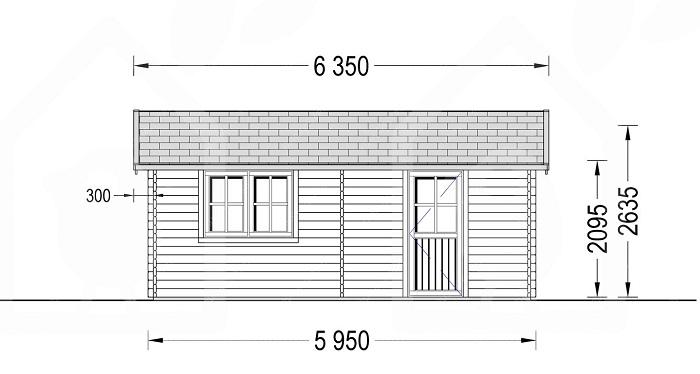 размер гаража из бруса под одну машину сбоку