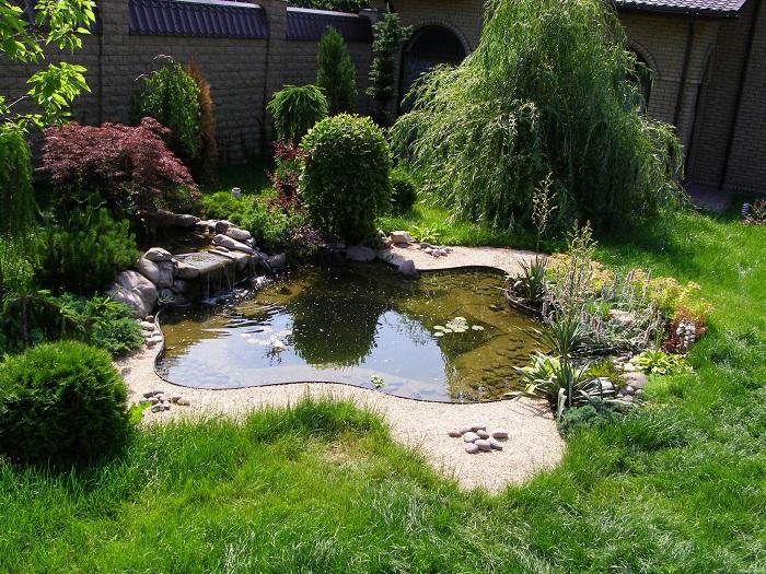 ландшафтный дизайн небольшого участка с водоемом