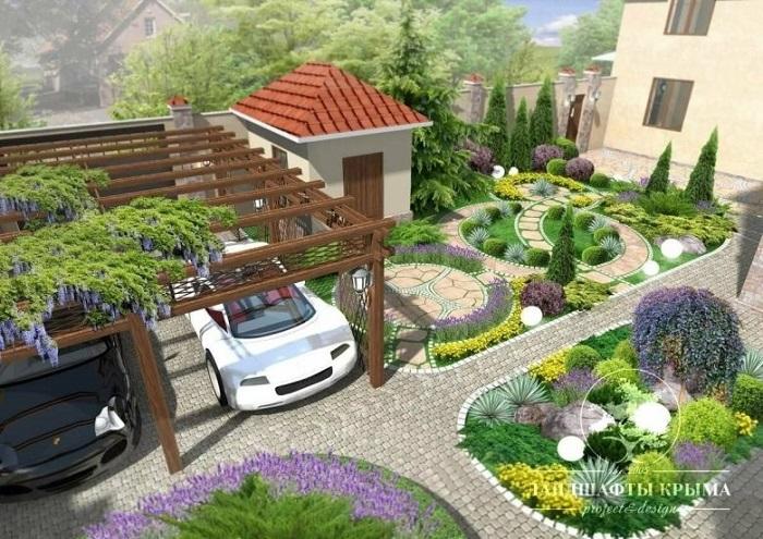 ландшафтный дизайн входной зоной с машиной на маленьком участке
