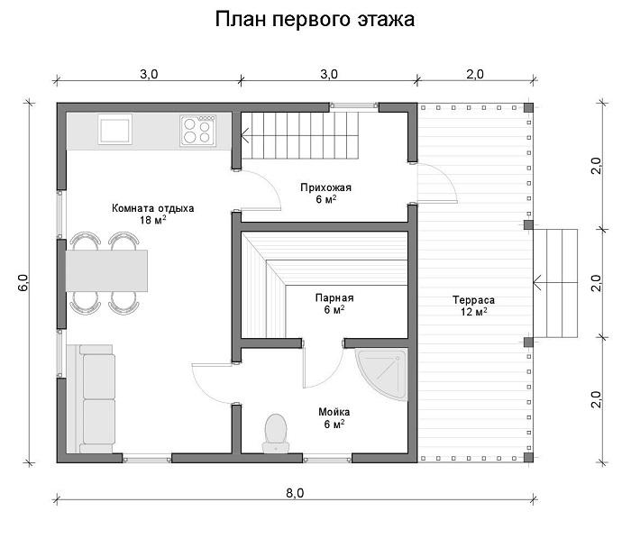 планировка первого этажа дома с баней 6 на 8
