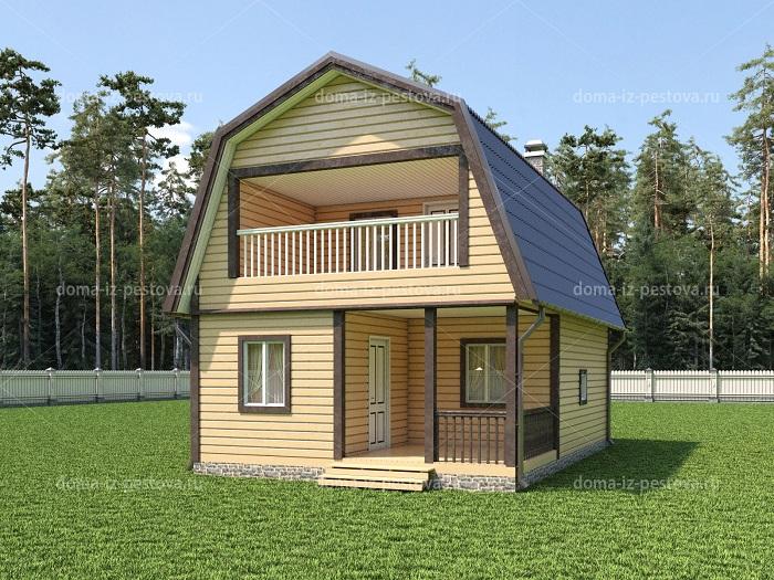 дома с баней 6×9 из бруса с террасой тамбуром двухэтажный