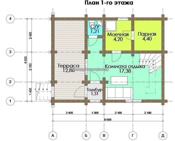 планировка 1 этажа дома с террасой и баней